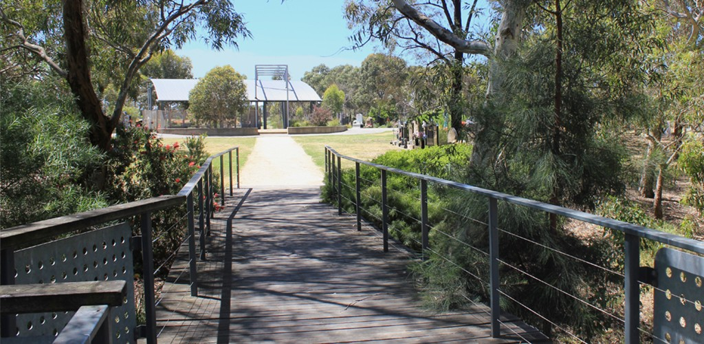 Edendale WSUD view of walking path and trees landscape